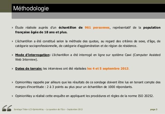 Méthodologie  Étude réalisée auprès d'un échantillon de 961 personnes, représentatif de la population française âgée de 1...