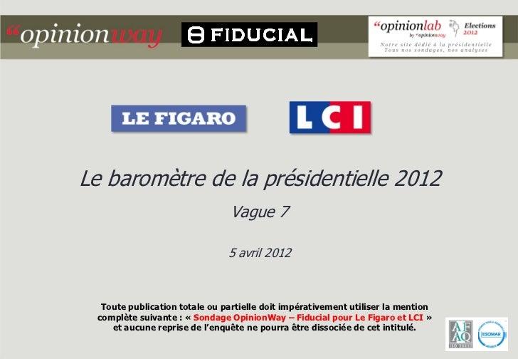 Le baromètre de la présidentielle 2012                                Vague 7                               5 avril 2012  ...