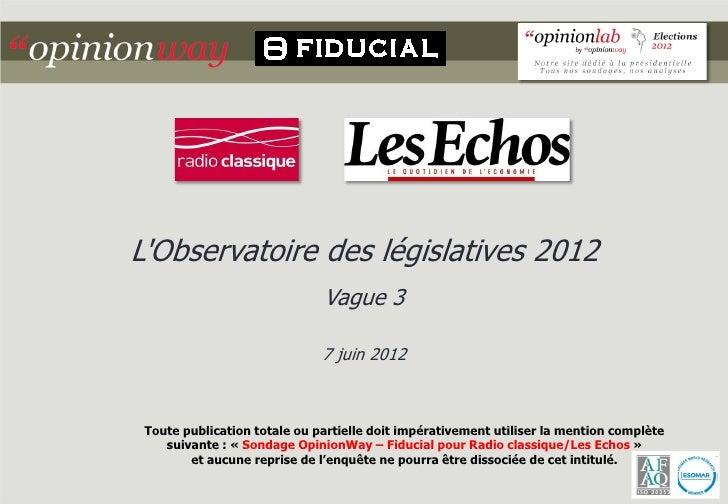 LObservatoire des législatives 2012                              Vague 3                              7 juin 2012 Toute pu...