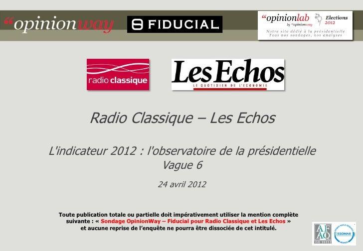 Radio Classique – Les EchosLindicateur 2012 : lobservatoire de la présidentielle                        Vague 6           ...