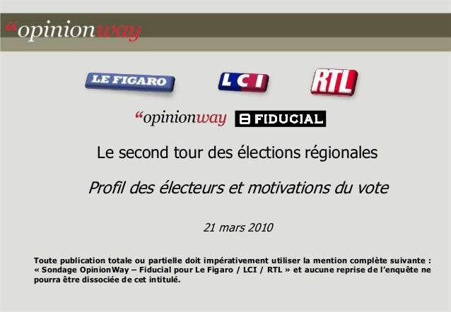 Le second tour des élections régionales Profil des électeurs et motivations du vote 21 mars 2010 Toute publication totale ...