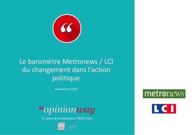 15 place de la République 75003 Paris Le baromètre Metronews / LCI du changement dans l'action politique Novembre 2015