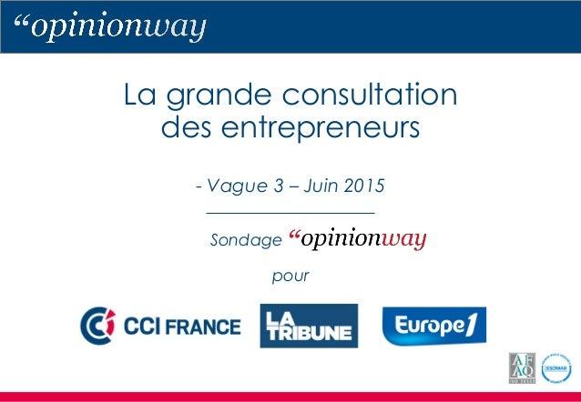 La grande consultation des entrepreneurs - Vague 3 – Juin 2015 Sondage pour
