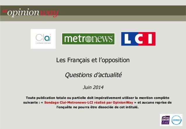 Les Français et l'opposition  Questions d'actualité  Juin 2014  Toute publication totale ou partielle doit impérativement ...