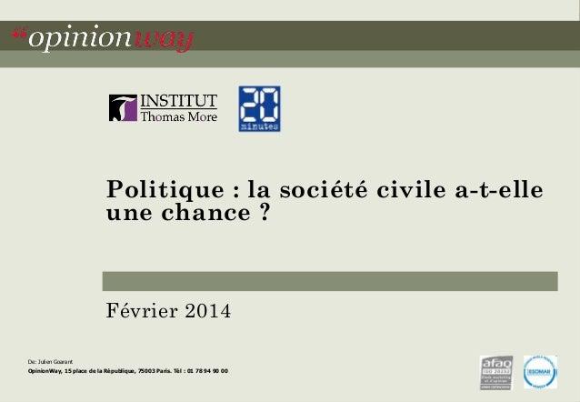 Politique : la société civile a-t-elle  une chance ?  Février 2014  De: Julien Goarant  OpinionWay, 15 place de la Républi...