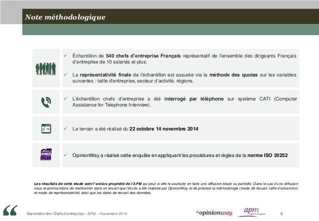 Opinionway pour l'APM : Le Baromètre Chefs d'entreprise / Novembre 2014 Slide 2