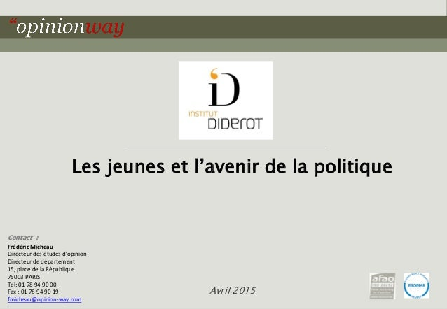1pour Les jeunes et l'avenir de la politique – Avril 2015 Contact : Frédéric Micheau Directeur des études d'opinion Direct...
