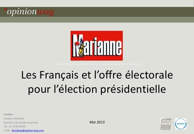 1pour - Les Français et l'offre électorale pour l'élection présidentielle - Mai 2015 Les Français et l'offre électorale po...