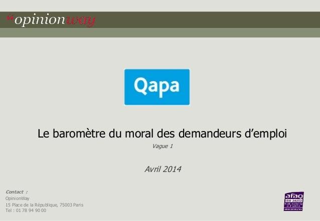 Le baromètre du moral des demandeurs d'emploi  Contact :  OpinionWay  15 Place de la République, 75003 Paris  Tel : 01 78 ...