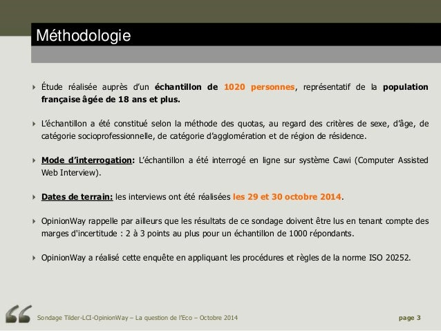La Question de l'Eco Tilder/LCI OpinionWay 30 octobre 2014 Slide 3