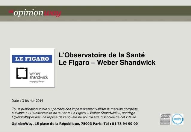 L'Observatoire de la Santé Le Figaro – Weber Shandwick  Date : 3 février 2014 Toute publication totale ou partielle doit i...