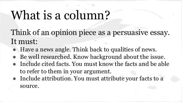 how to write an opinion column iberiabank