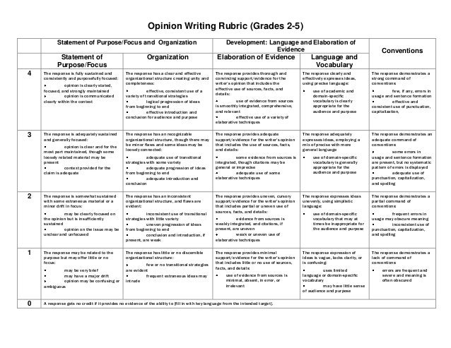 Opinion essay rubric middle school