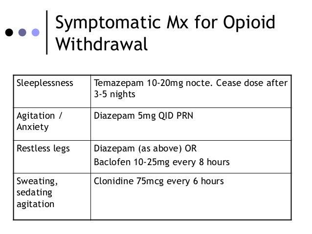 clonidine withdrawals narcotics