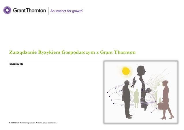 Grant Thornton Frąckowiak - zarządzanie ryzykiem   sierpień 2012 Zarządzanie Ryzykiem Gospodarczym z Grant Thornton Stycze...