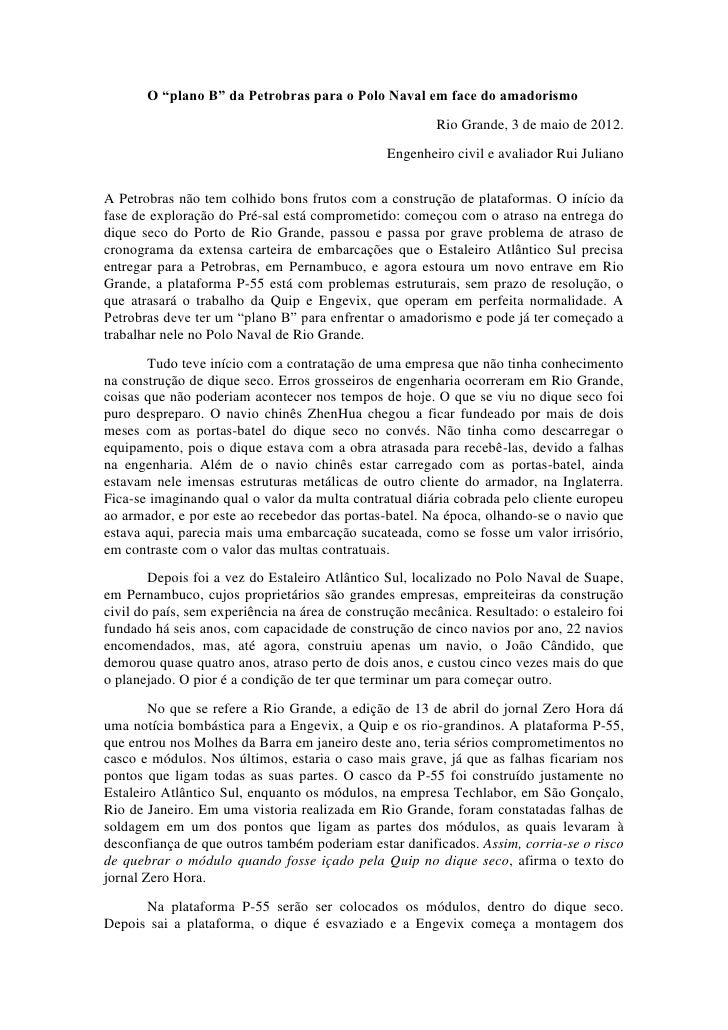 """O """"plano B"""" da Petrobras para o Polo Naval em face do amadorismo                                                        Ri..."""