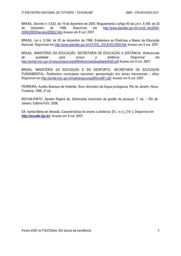 3º ENCONTRO NACIONAL DE TUTORES – FGVONLINE                                      ISBN – 978-85-60250-03-5   BRASIL. Decret...