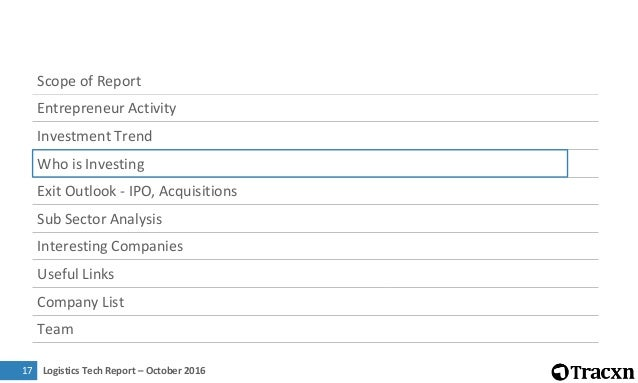 Logistics Tech Report – October 201618 Most Active Investors in Sector 32 29 21 20 13 12 11 11 11 10 0 7 14 21 28 35 Sequo...