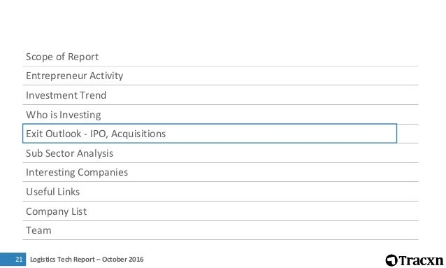 Logistics Tech Report – October 201622 Major Acquisitions in last one year Date Company Acquirer Deal Size Overview Total ...