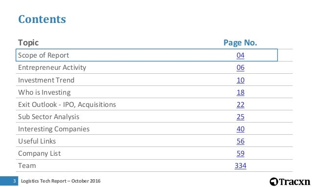 Logistics Tech Report – October 20164 Sector Overview Scope of report This report covers technology companies providing or...