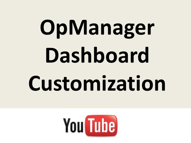 OpManager DashboardCustomization