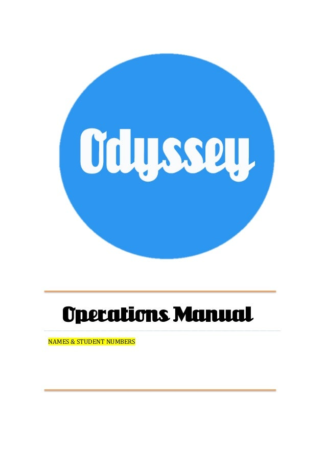 Operations Manual NAMES  &  STUDENT  NUMBERS