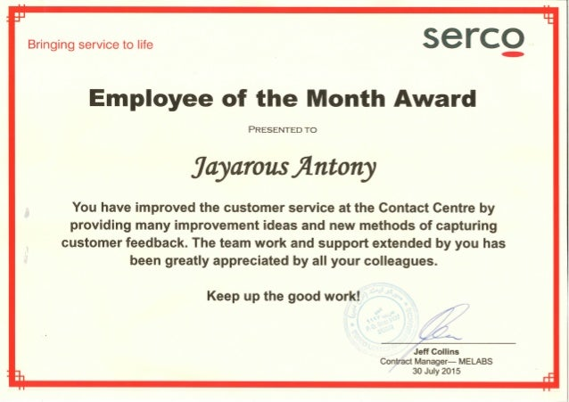 employee of the month serco melabs - Employee Of The Month Award