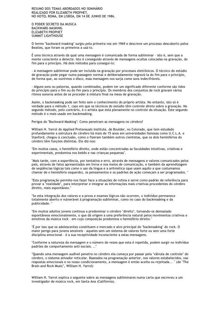 RESUMO DOS TEMAS ABORDADOS NO SEMINÁRIO REALIZADO POR ELIZABETH PROPHET, NO HOTEL ROMA, EM LISBOA, EM 14 DE JUNHO DE 1986....
