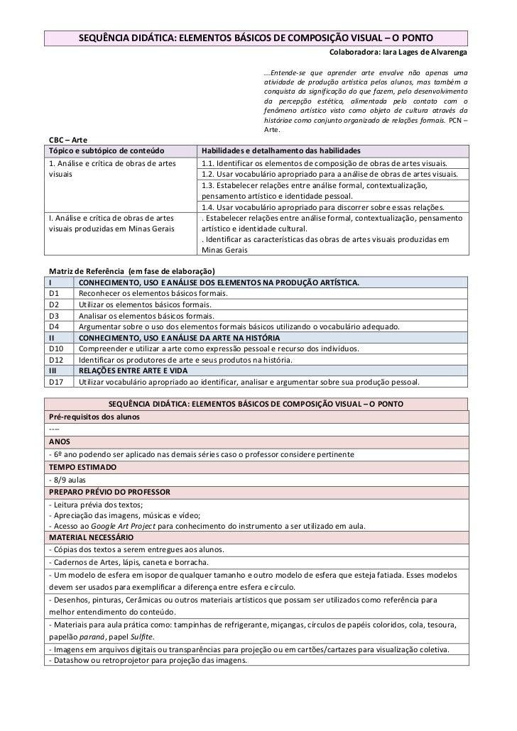 SEQUÊNCIA DIDÁTICA: ELEMENTOS BÁSICOS DE COMPOSIÇÃO VISUAL – O PONTO                                                      ...