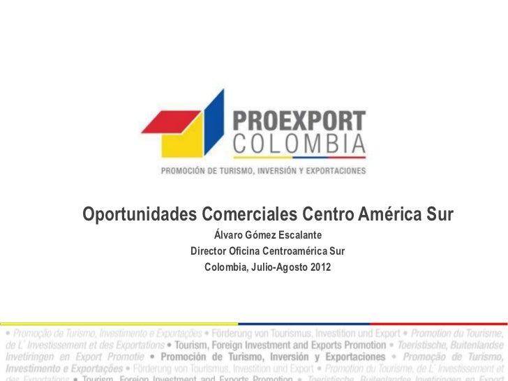Oportunidades Comerciales Centro América Sur                 Álvaro Gómez Escalante            Director Oficina Centroamér...