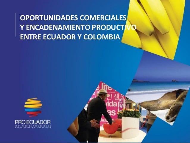 OPORTUNIDADES COMERCIALESY ENCADENAMIENTO PRODUCTIVOENTRE ECUADOR Y COLOMBIA