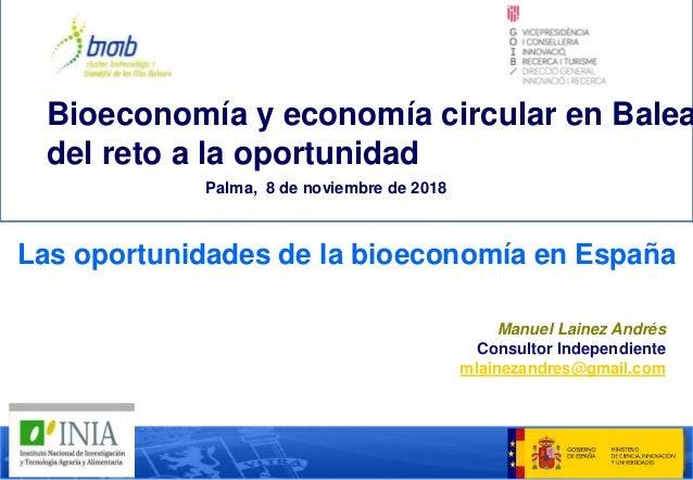 Las oportunidades de la bioeconomía en España Manuel Lainez Andrés Consultor Independiente mlainezandres@gmail.com Bioecon...