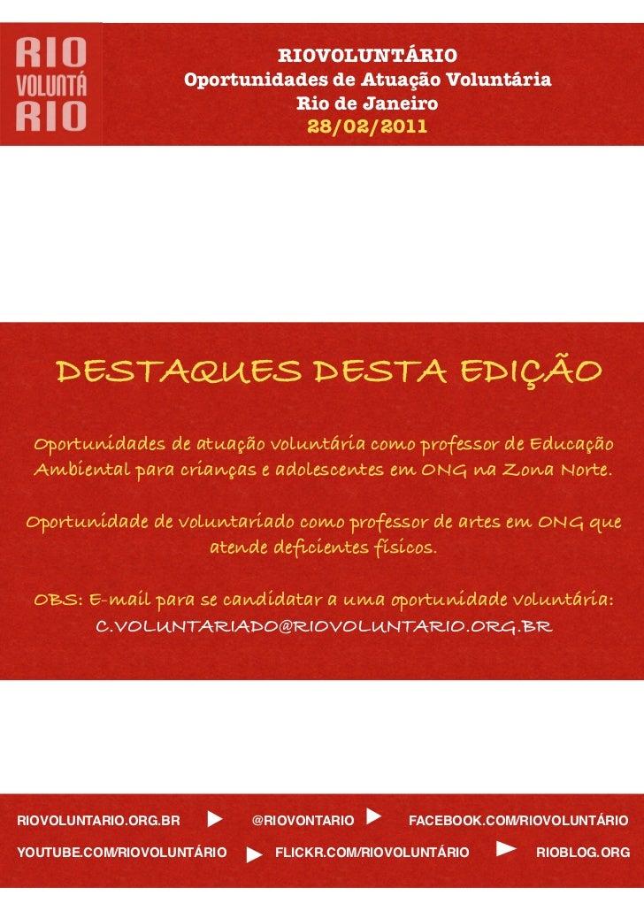 RIOVOLUNTÁRIO                       Oportunidades de Atuação Voluntária                                 Rio de Janeiro    ...