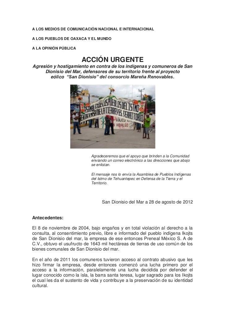 A LOS MEDIOS DE COMUNICACIÓN NACIONAL E INTERNACIONALA LOS PUEBLOS DE OAXACA Y EL MUNDOA LA OPINIÓN PÚBLICA               ...