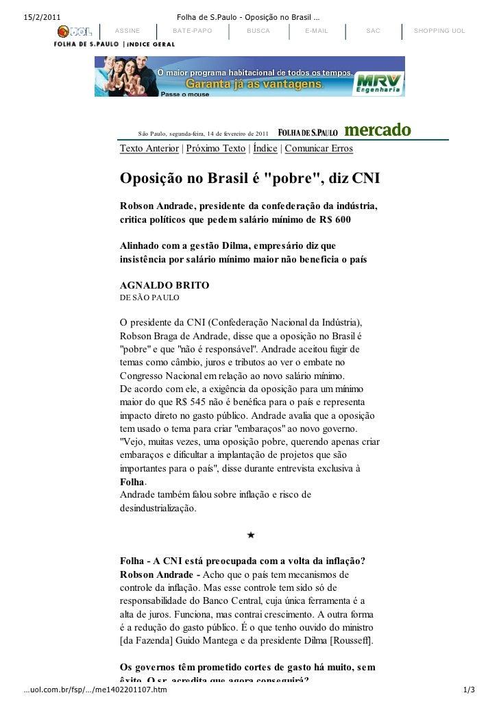 15/2/2011                                Folha de S.Paulo - Oposição no Brasil …                     ASSINE            BAT...
