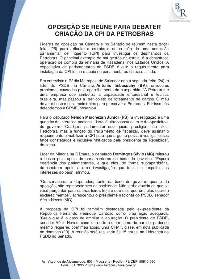 Av. Visconde de Albuquerque, 603 - Madalena - Recife - PE CEP: 50610-090 Fone: (81) 3227-1699 | www.berconsultoria.com.br ...