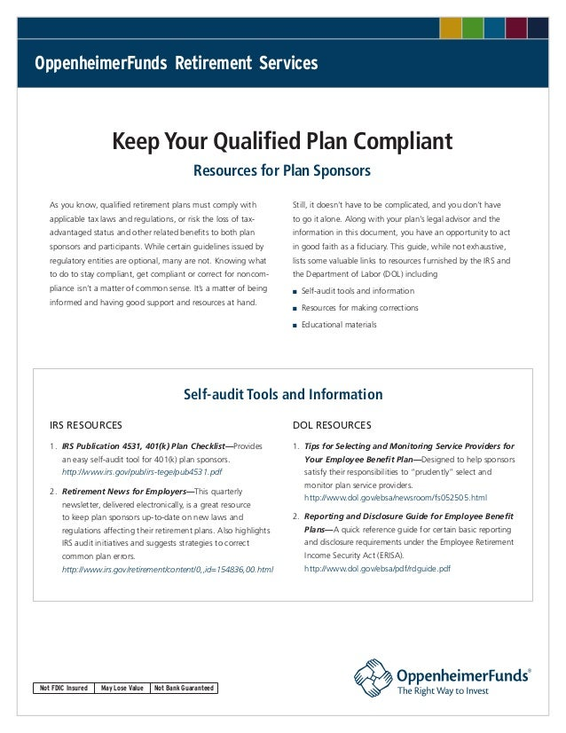 OppenheimerFunds Retirement Services                      Keep Your Qualified Plan Compliant                              ...