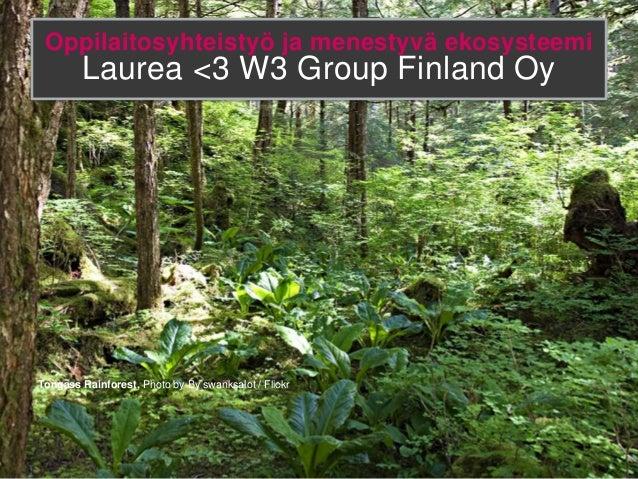 Oppilaitosyhteistyö ja menestyvä ekosysteemi        Laurea <3 W3 Group Finland OyTongass Rainforest, Photo by By swanksalo...