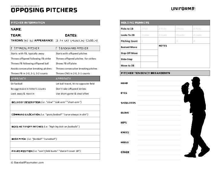 Baseball Pitcher Scouting Chart