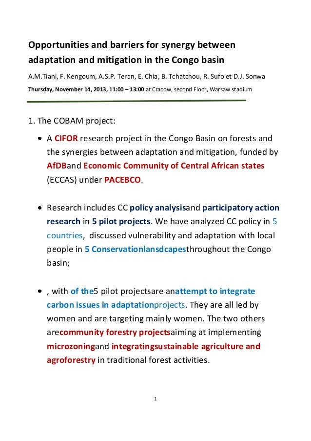 Opportunities and barriers for synergy between adaptation and mitigation in the Congo basin A.M.Tiani, F. Kengoum, A.S.P. ...