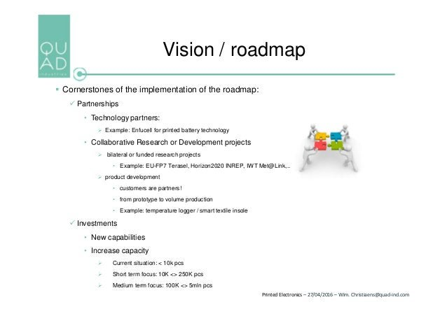 Printed Electronics – 27/04/2016 – Wim. Christiaens@quad-ind.com  Cornerstones of the implementation of the roadmap:  Pa...