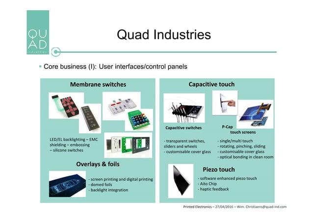 Printed Electronics – 27/04/2016 – Wim. Christiaens@quad-ind.com Quad Industries  Core business (I): User interfaces/cont...