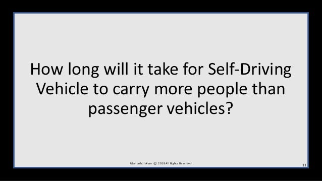 How long will it take for Self-Driving Vehicle to carry more people than passenger vehicles? M ahbubul Alam 2018 All Right...