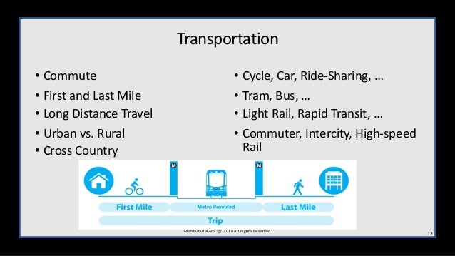 Transportation • Commute • First and Last Mile • Long Distance Travel • Urban vs. Rural • Cross Country • Cycle, Car, Ride...