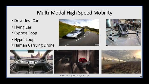 Multi-Modal High Speed Mobility • Driverless Car • Flying Car • Express Loop • Hyper Loop • Human Carrying Drone 13M ahbub...