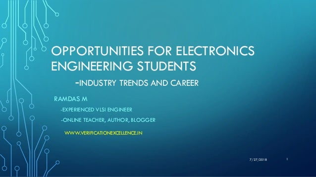 OPPORTUNITIES FOR ELECTRONICS ENGINEERING STUDENTS -INDUSTRY TRENDS AND CAREER RAMDAS M -EXPERIENCED VLSI ENGINEER -ONLINE...