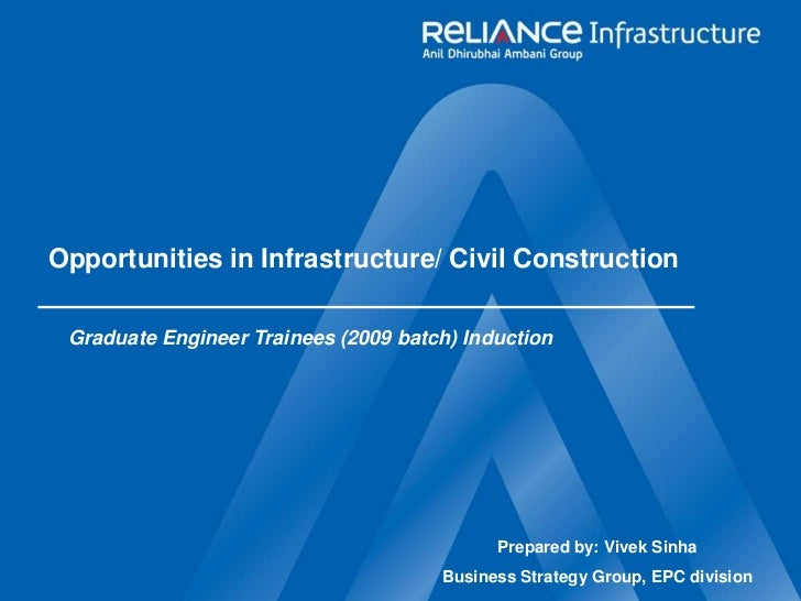 Opportunities in Infrastructure/ Civil Construction<br />Graduate Engineer Trainees (2009 batch) Induction<br />Prepared b...