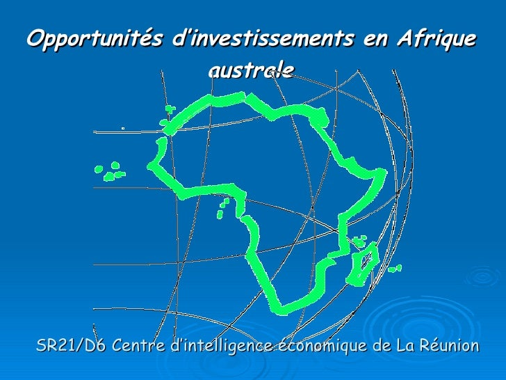 Opportunités d'investissements en Afrique australe SR21/D6 Centre d'intelligence économique de La Réunion