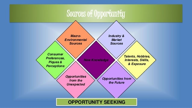 Sources of Opportunity Macro- Environmental Sources Consumer Preferences, Piques & Perceptions Industry & Market Sources T...