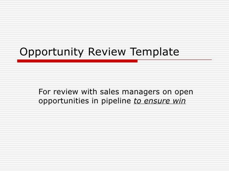 Sales Opportunity Review Template